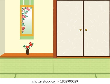 Vector illustration of Japanese-style room background