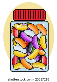 vector illustration of a jar of jelly beans