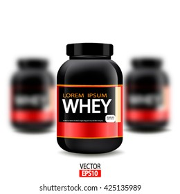 Vector illustration of  jars of whey protein isolated on white background. Sports nutrition and  bodybuilding lifestyle
