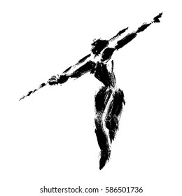 Vector illustration of javelin thrower, made in a grunge technique.