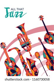 Vector illustration - Jazz festival. Hand-drawn music instruments. For music events, jazz concerts.