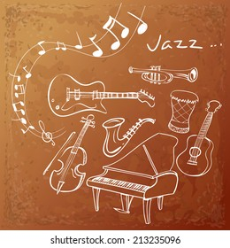 Vector illustration of Jazz instrument background, simple white on grunged brown