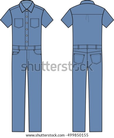 571dee86ecc4 Vector illustration of jean short-sleeve coveralls. Clothes in denim style.  Front and