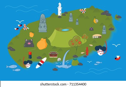 Vector illustration of Jeju Island. Jeju-do map with Jeju attractions: Hallasan, Dol Hareubang or Harubang, known as Stone grandfather, Haenyeo or Jeju female diver, beach parasols and hallabong fruit
