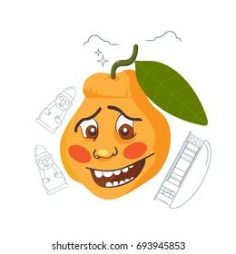 Vector illustration for Jeju island promotion: Hallabong orange mascot and line art styled symbols of Jeju-do: Harubang ( Dol Haruebang or stone grandfather ) and traditional Jeju island house.