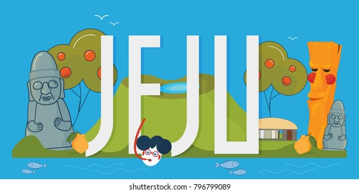 Vector illustration for Jeju island promotion: Hallasan mountain, Dol Hareubang or Harubang, known as Jeju-do Stone grandfather, persimmon tree, totem pole Jangseung etc. Text: Jeju.
