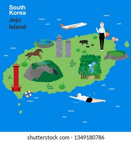 Vector illustration of Jeju Island, South Korea. Jeju-do map with Jeju attractions: Hallasan, Dol Hareubang or Harubang, known as Stone grandfather, Haenyeo or Jeju female diver, beach parasol.