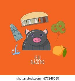 Vector Illustration for Jeju-do island promotion: Jeju Black pig, Harubang or stone grandfather statue, traditional house, Hallabong orange fruit. Great as illustration for children or menu element.