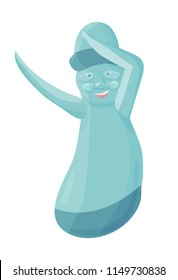 Vector illustration for Jeju-do promo: Dabbing Dancing Dol hareubang, also called tol harubang or Jeju Stone Grandfather, large rock statue found on Jeju Island, South Korea.  Cute Hareubang isolated.