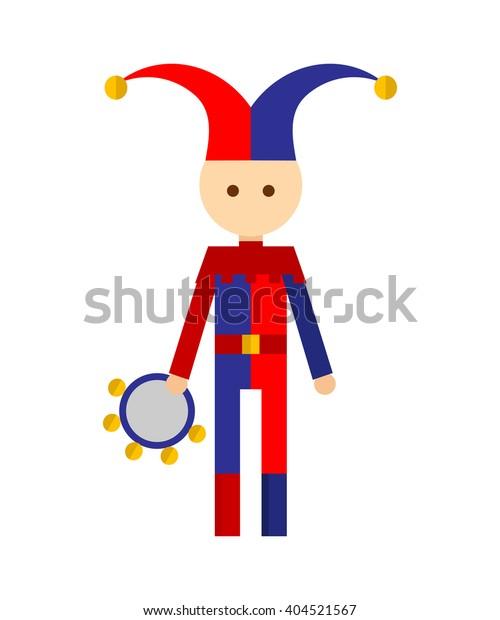 Vector illustration of jester on white background.