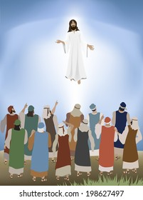 Vector illustration of Jesus ascends back to Heaven as the apostles look on with the sky lit up behind Jesus. Inspired by Bible verse: Acts 11:9 Gradient meshes : the land, sky and Jesus' robe.