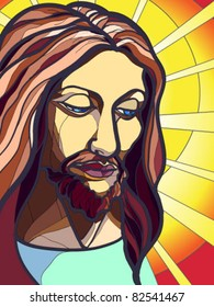 Vector illustration of Jesus Christ in stained glass.