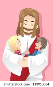 A vector illustration of Jesus holding two kids in his arms