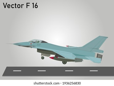Vector or illustration Jet F 16 Fighting Falcon with shark sticker. war airplane take off
