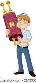 Vector illustration of a jewish boy holds the torah for bar mitzvah