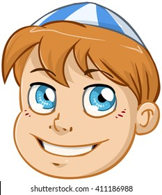 Vector illustration of a Jewish boy's head with kippah.