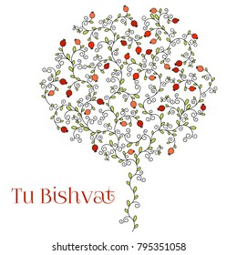 Vector illustration of Jewish holiday, new year of trees for Tu Bishvat. A tree with pomegranate fruits, branches, swirls for greeting card or poster. Text Tu Bishvat isolated on white