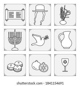 Vector illustration Jewish holiday Traditional symbols Menorah candles, Torah scroll, jug of oil, dove, donuts, pomegranate, lemon, date palm branch, hat, paces Happy Hanukkah Sukkot Design for print