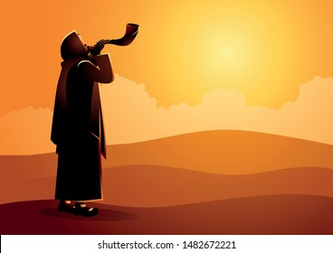 Vector illustration Jewish man blowing the Shofar ram's horn on Rosh Hashanah and Yom Kippur day.
