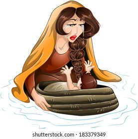 Vector illustration of Jochebed placing Moses in the nile.