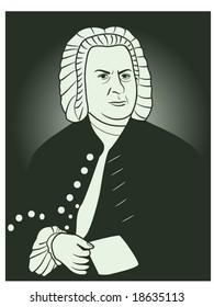 vector illustration of Johann Sebastian Bach