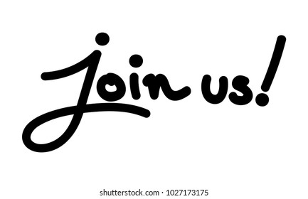 Vector illustration of join us text isolated on a white background.
