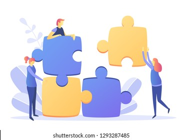 Vector illustration, joint teamwork in the company, teamwork successful together concept. Marketing content.Bisiness people push details of puzzles, business leader contraces the construction process