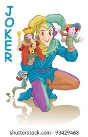 Vector illustration, joker harlequin wielding puppets, card concept, white background.