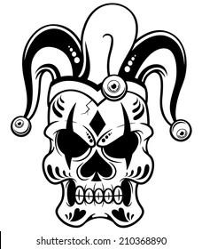 Vector illustration of Joker skull