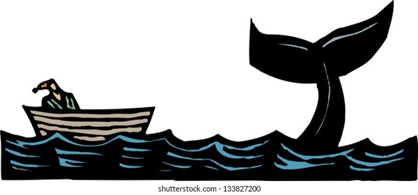 Vector illustration of Jonah and the whale