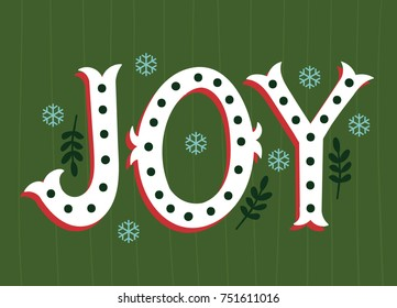 Vector illustration of JOY lettering for Christmas holidays