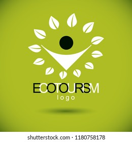 Vector illustration of joyful abstract individual with raised hands up. Ecotourism conceptual logo. Green tourism symbol. Wanderlust and countryside vacation icon.