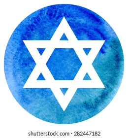 Vector illustration of judaic symbol star of David on bright blue circle watercolor background.