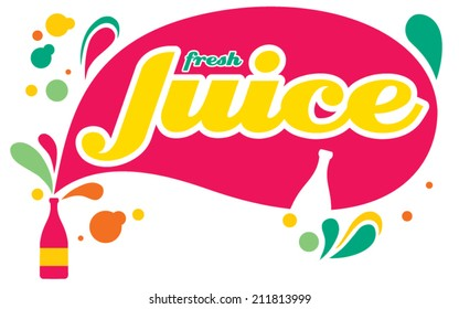 Vector illustration of juice splashes and bottles