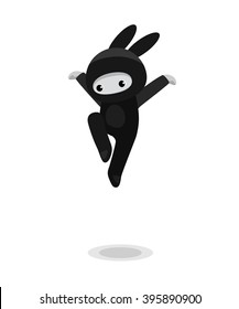 Vector illustration of jumping cute bunny ninja isolated on white background