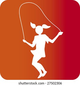 Vector illustration of jumping girl silhouette. Easy color changes. CMYK. Only global colors.