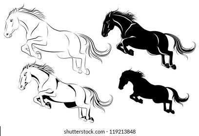 Vector illustration of jumping horse black and white