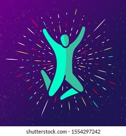 Vector illustration of jumping people, dance leap on dark background with rays. Man woman kid silhouette. Trampoline park concept. Healthy active sport. Bounce party decoration. EPS 10
