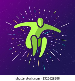 Vector illustration of jumping people. Man woman kid silhouette. Body figure icon sign. Trampoline park concept. Healthy active sport. Birthday bounce party decoration.