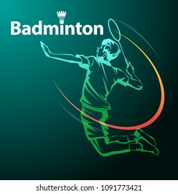 Vector illustration, jumping smash, Badminton symbol