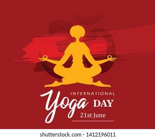 Vector illustration of June 21st international yoga day. Yoga Silhouette Stock Illustration.yoga vector image. - Vector