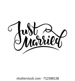 Vector illustration of just married text with background and textures for wedding. Handwritten modern calligraphy just married card/ tag/ badge template. Lettering typography wedding illustration. EPS