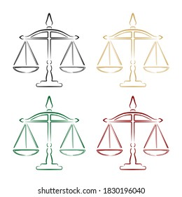 Vector Illustration Of Justice Scales. Law Scale Outline Illustration