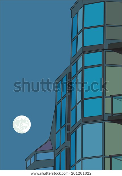 vector illustration of a juxtaposed high-rise building and the moon