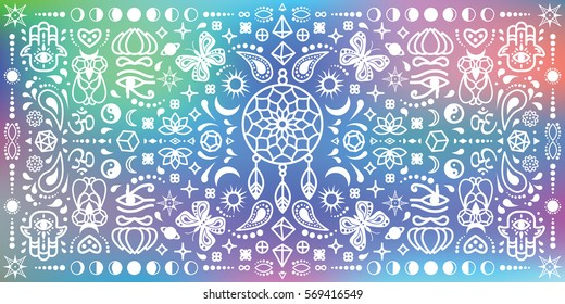 vector illustration of kaleidoscopic geometric horizontal banner with bohemian symbols and soft blurry background