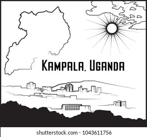 Vector illustration of Kampala, Uganda