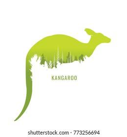 vector illustration kangaroo green Wildlife on white background. park. nature. logo