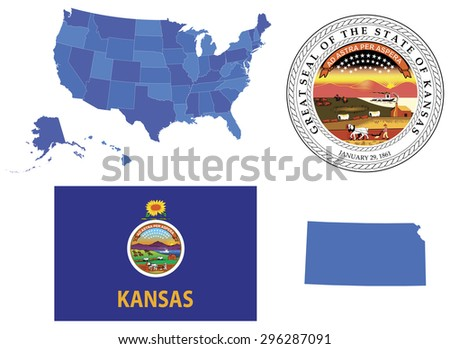 vector illustration kansas state contains high stock vector royalty