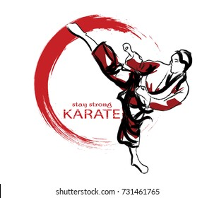 vector illustration with karate with imitation of hand drawing