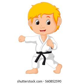 Vector illustration of karate kid